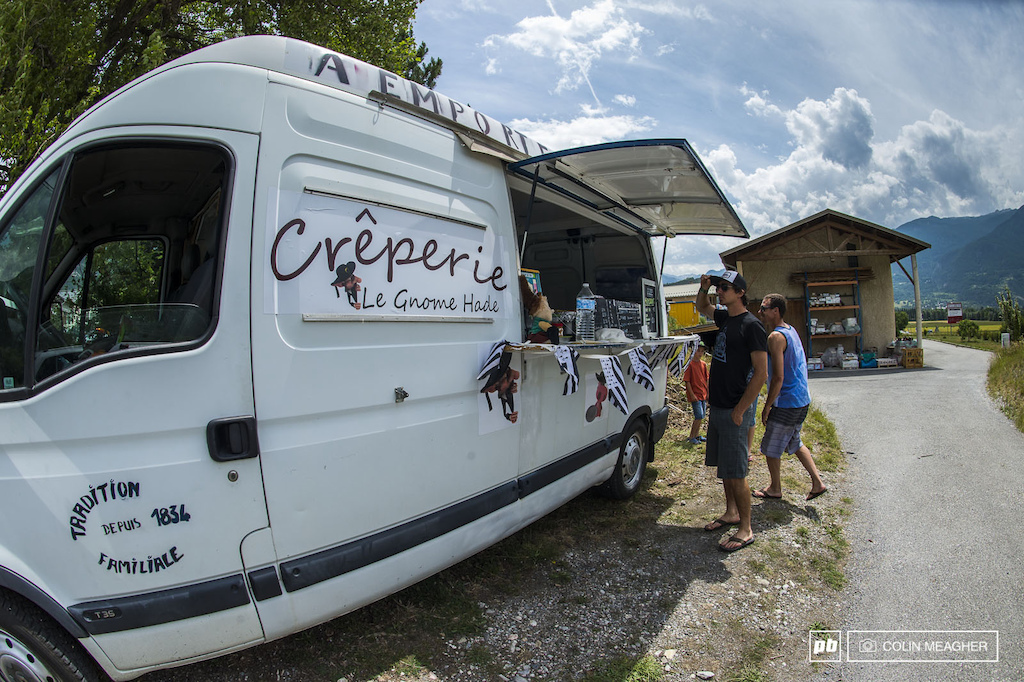 """Le French Roach Coach: Adam's keen eye, always looking for the next meal, caught this roadside Creperie on the (far, rural) outskirts of Briancon. Turns out we were the first customers at this new location, 180 years after this fine family opened this fine eatery. Do you crave sweet, or savory?"" - Lars Sternberg"